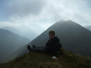 Craig with a moody Stob Dubh and Glen Etive behind